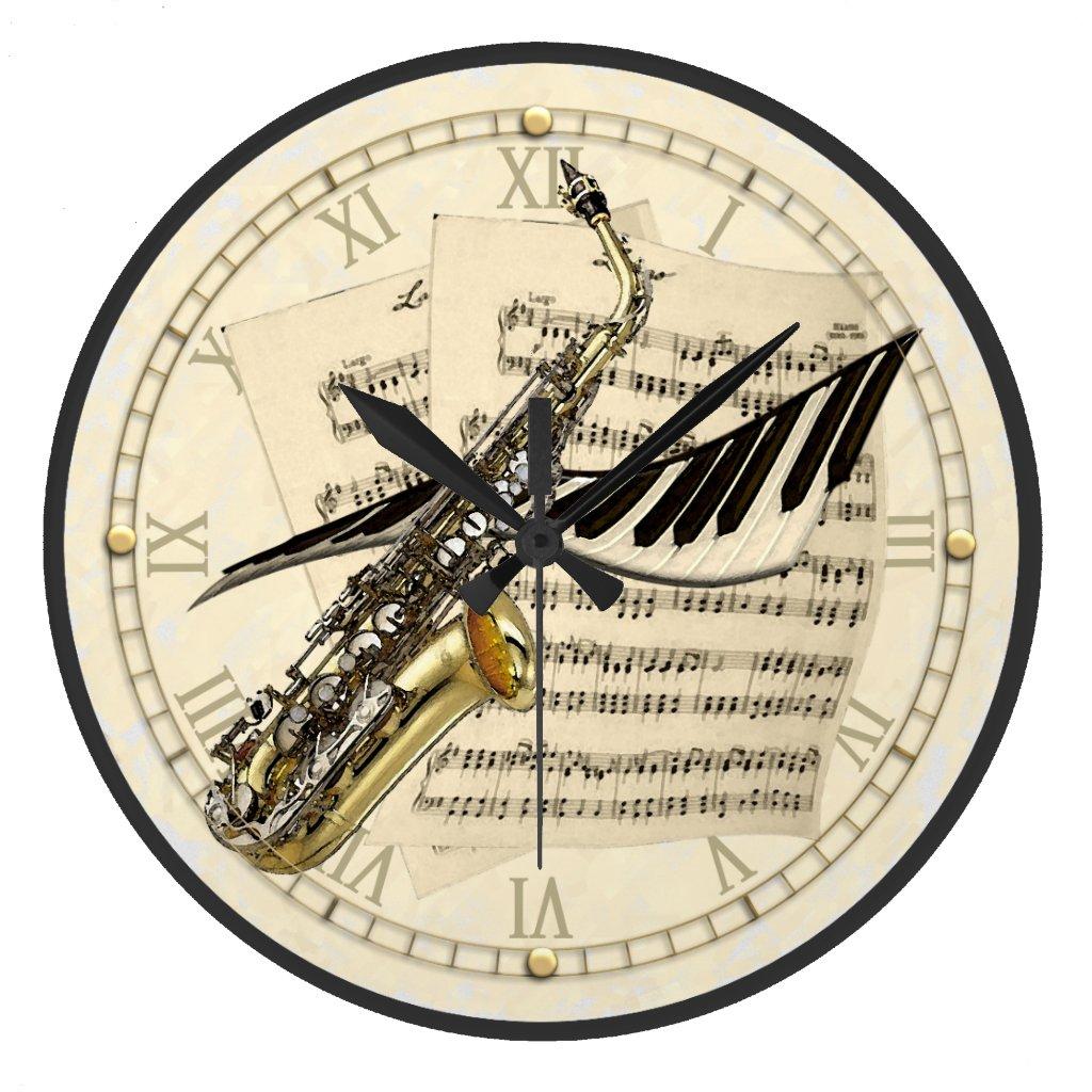 Saxophone & Piano Clock