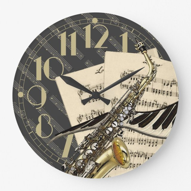 Saxophone & Piano Music Clock