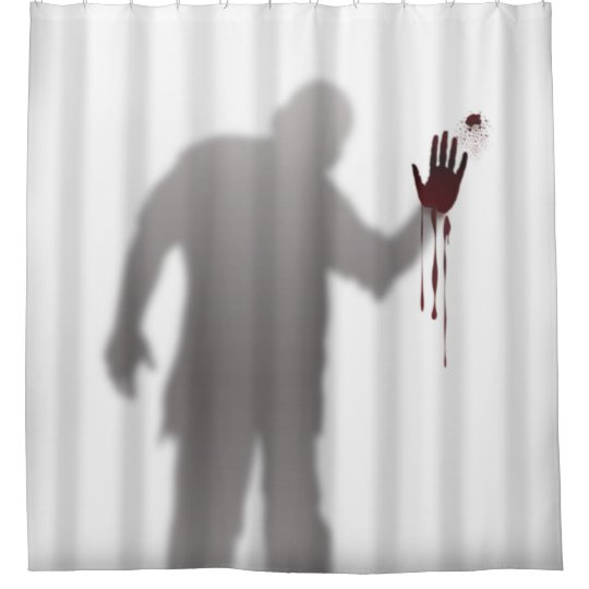 scary and horrific zombie man silhouette shadow shower curtain