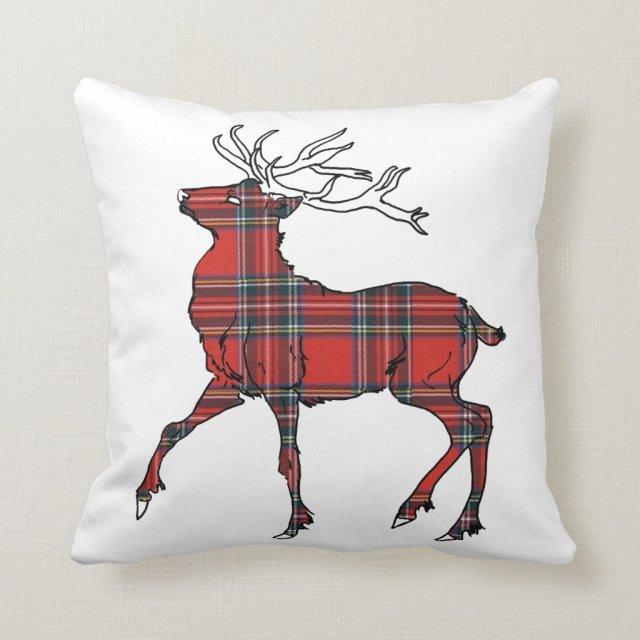 Scottish (Royal Stewart) Tartan Stag Cushion