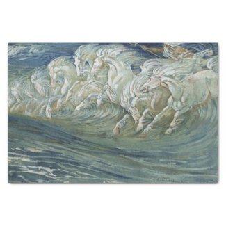 Sea horses decoupage tissue paper