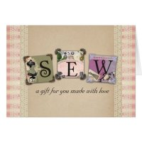 Shabby chic vintage sewing crafts gift cards | Zazzle.co.uk