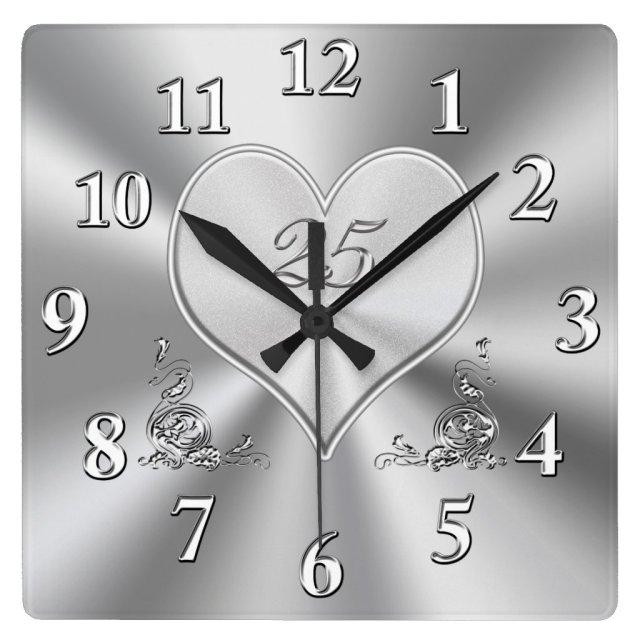 Silver 25th Wedding Anniversary Clocks