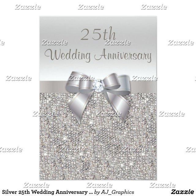 Silver 25th Wedding Anniversary Sequins and Bow