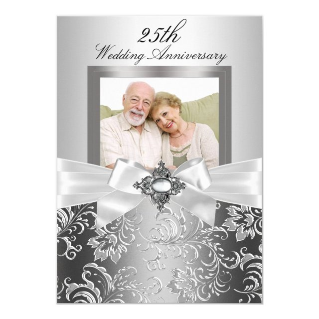 Silver Jewel Bow & Floral 25th Wedding Anniversary