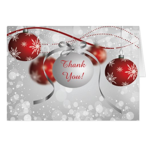 Silver Amp Red Ornaments Bokeh Christmas Thank You