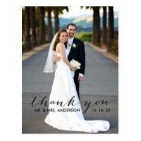 Simple Handwriting Wedding Thank You Postcard