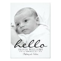 Simple Modern Hello Baby Birth Photo Announcement
