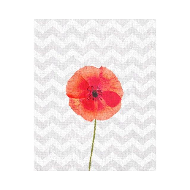 Single red poppy on grey and white chevron pattern