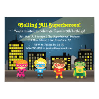 Skyline Superhero Birthday Party For Kids Card