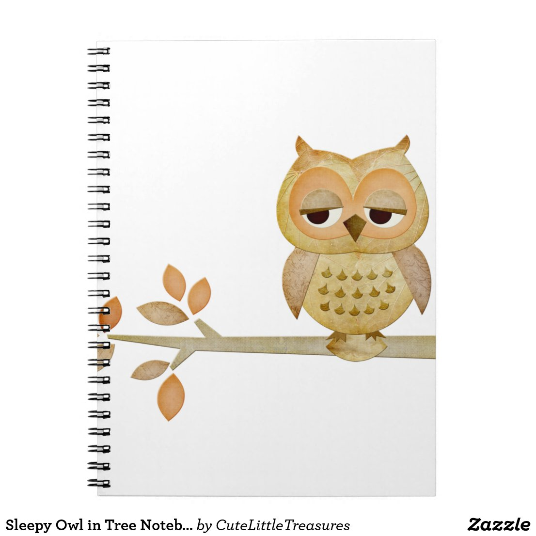 Sleepy Owl in Tree Notebook