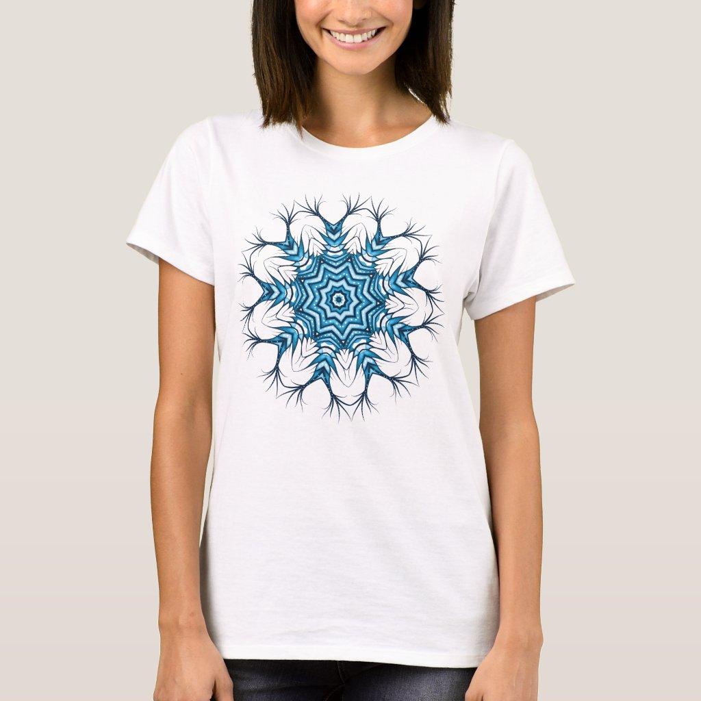 Snowflake Mandala In Blue Winter Abstract Art T-Shirt