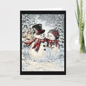 Snowman and Snowlady Christmas Card