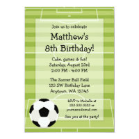 Soccer Ball Field Kids Birthday Party Card