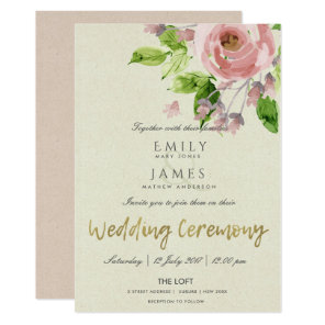 SOFT ROMANTIC BLUSH PINK WATERCOLOR FLORAL WEDDING INVITATION