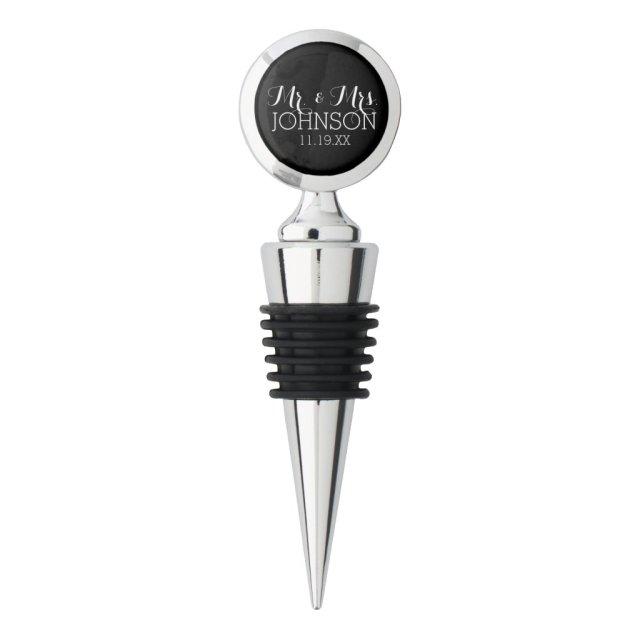 Solid Colour Black Mr & Mrs Wedding Favours