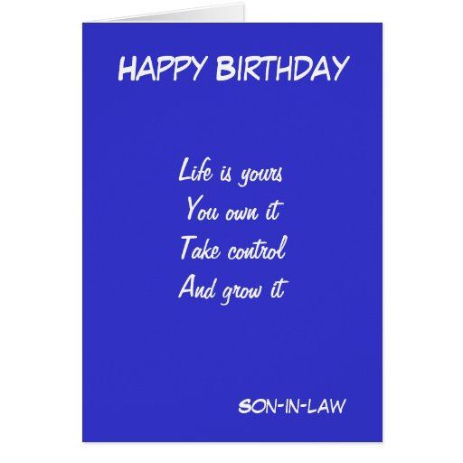 Son In Law Motivational Birthday Greeting Cards Zazzle