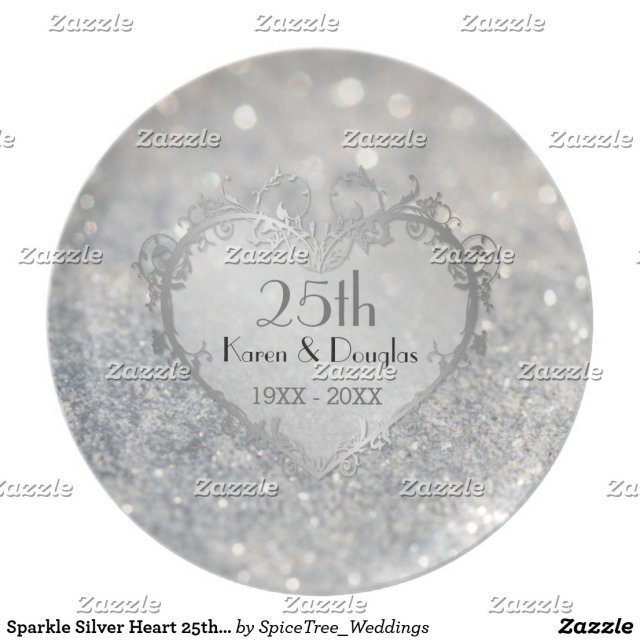 Sparkle Silver Heart 25th Wedding Anniversary