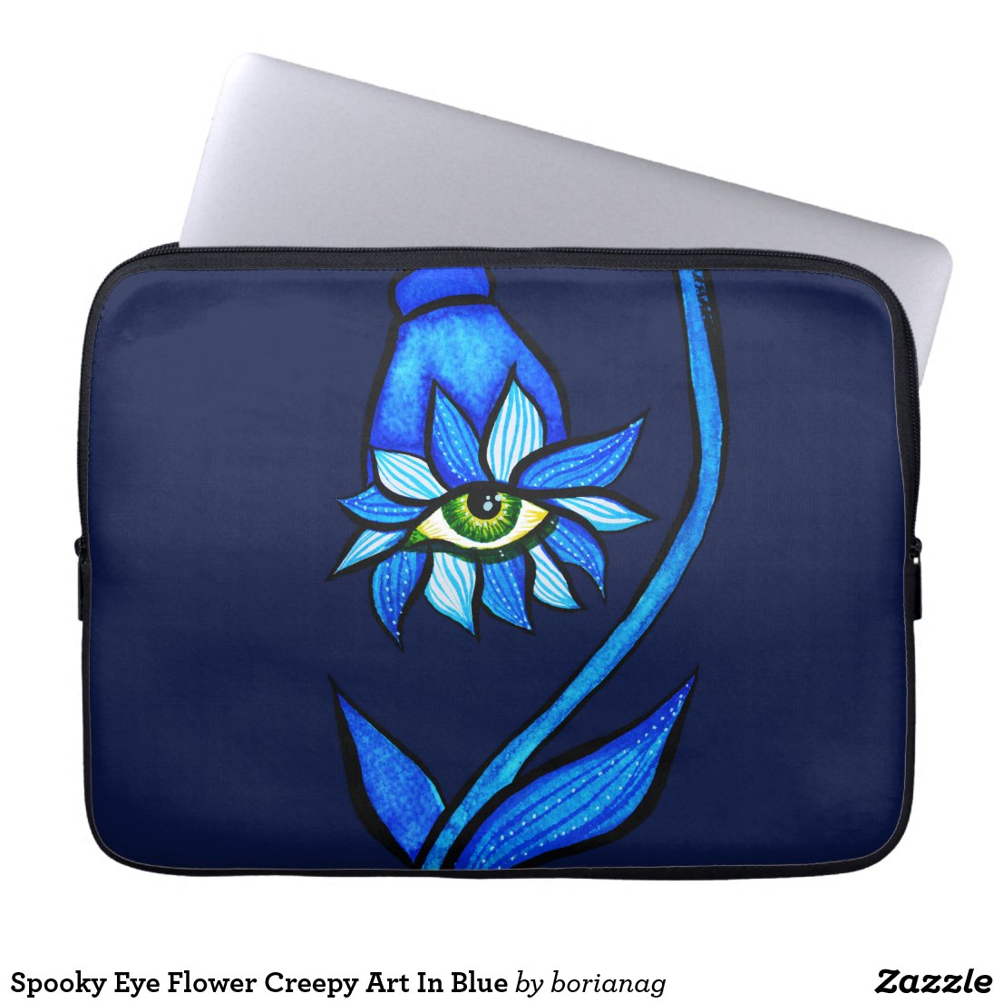 Spooky Eye Flower Creepy Art In Blue Laptop Sleeve