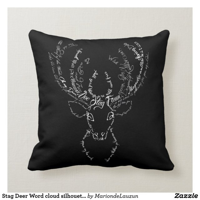 Stag Deer Word cloud silhouette antlers