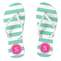 Striped Monogram Flip Flops