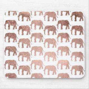 Stylish modern rose gold wild elephants pattern mouse mat