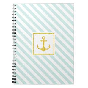 Stylish Striped Design Golden Anchor Notebook