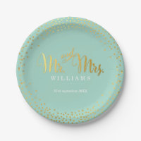 STYLISH WEDDING TABLE mini confetti gold mint 7 Inch Paper Plate