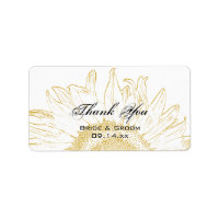 Sunflower Graphic Wedding Thank You Favor Tags Label