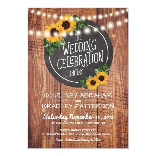 Sunflower Rustic String Lights Wedding