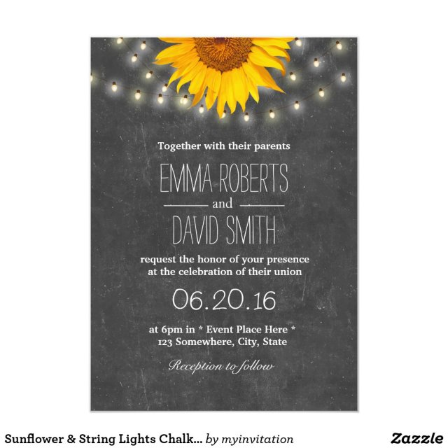 Sunflower & String Lights Chalkboard Wedding