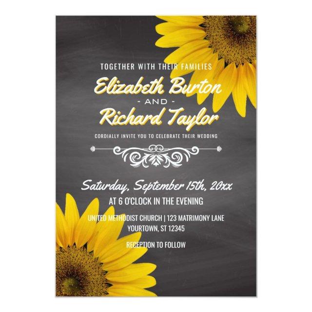 Sunflowers Chalkboard Rustic Country Wedding