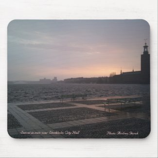 Sunset in rain over Stockholm City Hall 1, Suns... Mouse Pad