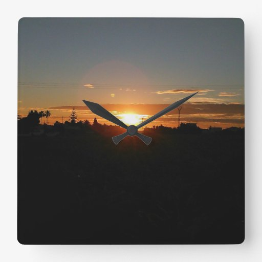 Sunset Square Wall Clock by IreneDesign2011