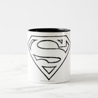 Superman S-Shield | Simple Black Outline Logo Mug