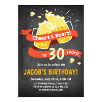 Surprise Party Cheers and beers birthday 30th Card