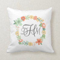Sweet Floral Monogram Pillow