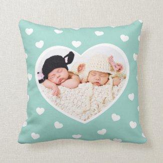 Sweet Hearts Custom Photo Pillow / Mint
