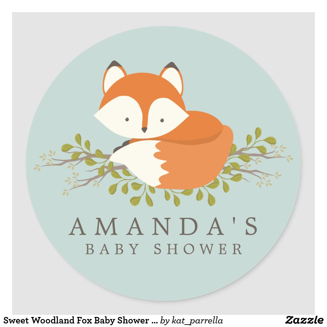 Sweet Woodland Fox Baby Shower Favour Seal