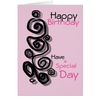 Swirls graphic pink & black happy birthday special