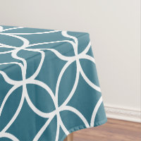 Teal Blue Geometric Pattern Tablecloths Tablecloth