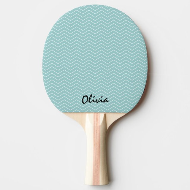Teal chevron ping pong paddle for table tennis