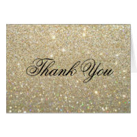 Thank You Note Card - Gold Glit Fab