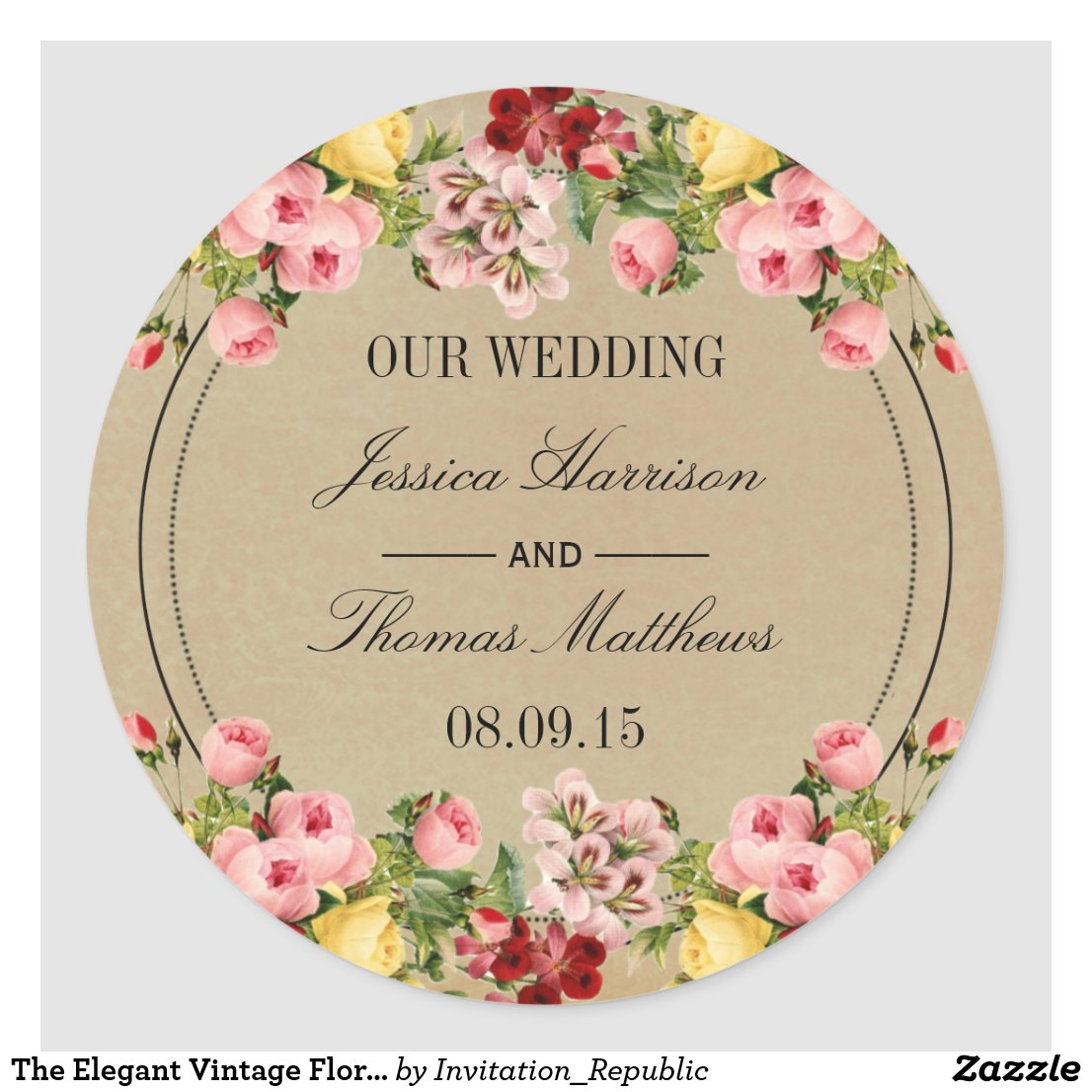 The Elegant Vintage Floral Wedding Collection Sticker