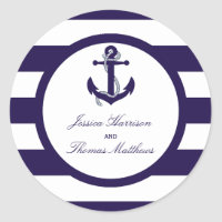 The Nautical Anchor Navy Stripe Wedding Collection Classic Round Sticker