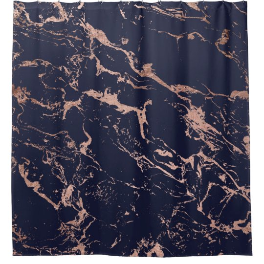 trendy navy blue rose gold marble pattern shower curtain