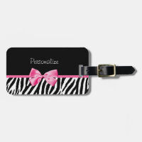 Trendy Zebra Print and Pink Ribbon With Name Travel Bag Tag