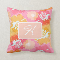 Tropical Floral Monogram Cushion