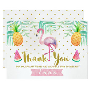 Tropical Watercolor Flamingo Thank You Card