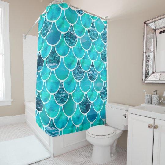 turquoise aquamarine and white mermaid scales shower curtain
